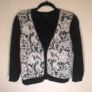 Sweaters - Black and Cream Lace Cardigan